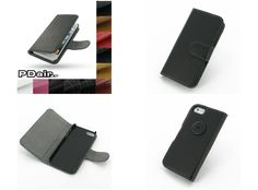 PDair Leather Case for Apple iPhone 5 - Book Type With Clip (Black)