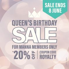 Sale ENDS midnight 8 June 2021. This offer is *20% off your purchase online and in-store. To redeem this offer IN-STORE you need to be a Manna Member and mention the coupon code: ROYALTY to a staff member when making your purchase. If you are not a Manna Member you can sign up in-store or register online. To redeem this offer ONLINE use the coupon code: ROYALTY at the checkout. *T&Cs apply. Shop in-store or online at manna.co.nz Register Online, Online Purchase, Clearance Sale, Coupons, Promotion, How To Apply, Coding, Make It Yourself, Coupon
