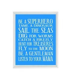Chico vivero arte - azul blanco metro Art - tipografía - bebé niño reglas - regalo del bebé - Playroom diversión moderna sala pared lámina cartel 8 x 10