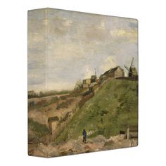 Hill of Montmartre with Stone Quarry by Van Gogh 3 Ring Binders
