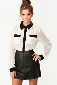 Tux Pocket Blouse from Nasty Gal  This shirt is so simple & sweet, but can be used for day or night! Wear a simple lace bra if you're brave or a tank top for more conservativeness. Either way, it's sophisticated & sweet!