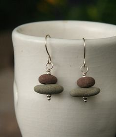 Stacked Stone Earrings Sterling Silver, Stone Cairn, Beach Stone Jewelry, Lake Ontario, Organic, Handcrafted