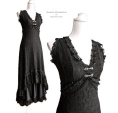 Dress Art Nouveau Black size S/M Edwardian by SomniaRomantica, $300.00
