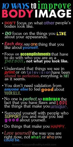10 Ways To Improve Body Image happy life happiness positive emotions lifestyle mental health self esteem confidence self love self improvement self help emotional health body image Body Love, Loving Your Body, Affirmations, Positive Body Image, Daily Motivation, Business Motivation, Found Out, Self Improvement, Self Help