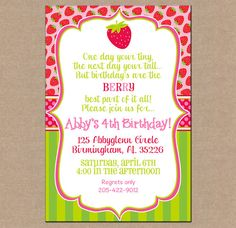 12 Personalized Printed Girl Strawberry Berry Shortcake Birthday Invitations with envelopes on Etsy, $13.95