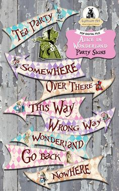 ❤ WELCOME TO LYTHIUM ART SHOP! ❤ ALICE IN WONDERLAND PARTY SIGNS - 10 ARROW PACK 10 Super fun direction arrows with the most beautiful design for a very special Alice in Wonderland Birthday Party. Print, cut and hang it yourself for a one of a kind party decoration! ❤ This listing is for an INSTANT DOWNLOAD ❤ Once payment is completed, you will receive: ° 10 sheets 8.5 x 11 with 1 high quality (300 dpi) arrow image each, format PDF no editable. (05 ZIP Files, you will need WinZip or WinRa...
