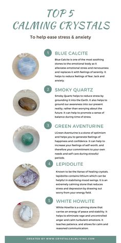 Top 5 Calming Crystals to Help Ease Stress — Crystal Calm Living Chakra Crystals, Crystals Minerals, Crystals And Gemstones, Stones And Crystals, Gems And Minerals, Crystal Guide, Crystal Magic, Crystal Healing Stones, Crystal For Anxiety