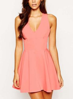 fit & flare skater dress in light pink