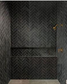 Shower Niche, Master Shower, Master Bath, Shower Tiles, Shower Set, Black Tile Bathrooms, Small Bathroom, Bathroom Ideas, Neutral Bathroom