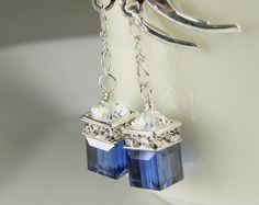 Navy Blue Crystal Earrings, Petite Cube, Silver, Drop Bridesmaid Wedding Handmade Jewelry, Sapphire, September Birthstone Birthday by fineheart on Etsy https://www.etsy.com/listing/104706572/navy-blue-crystal-earrings-petite-cube