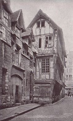 Rouen - France medieval house of the XV Century - vintage photograph circa 1900 - example of gable end timber framing. Note the substantial corner posts on the first and second floor below, carved to support the cantilevered floor above.