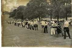 Some of the 200 archers who took place in the Golden Arrow Tournament 1975 in Wollaton Park