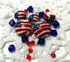 * Red/White/Blue Lampwork Glass. Starting at $5 on Tophatter.com!