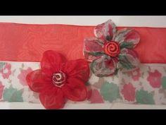 Como hacer paso a paso flores con cinta de organza, muy fácil. Step by step how to make flowers with organza ribbon, very easy.