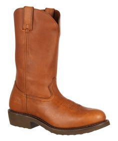 Tan Pull-On Leather Western Boot - Men