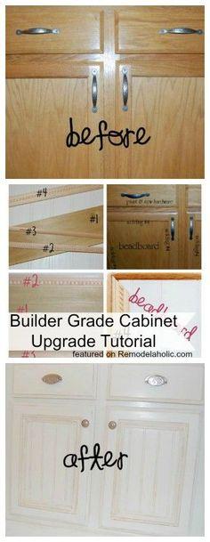 Remodelaholic   Builder Grade Cabinet Upgraded! Tutorial