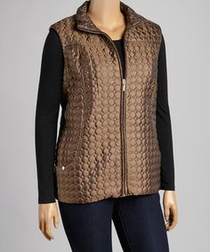 Another great find on #zulily! Bronze Metal Circle Quilted Vest - Plus #zulilyfinds