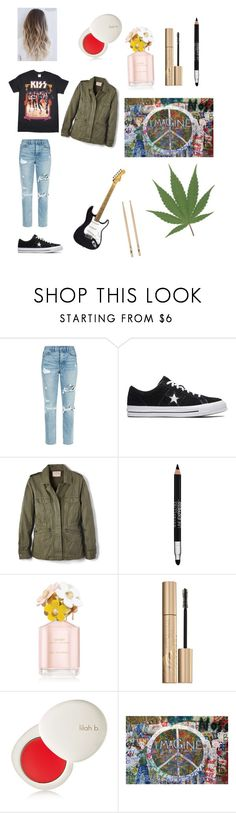 """Detroit rock city inspired (:"" by saliceroseisgoals on Polyvore featuring GRLFRND, Converse, Velvet by Graham & Spencer, Maybelline, Marc Jacobs, Stila and lilah b."