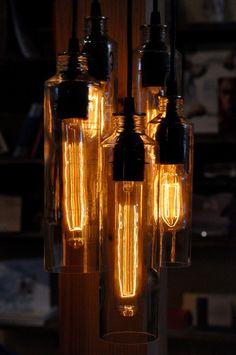 Custom Made Recycled Bottle, Voss Bottle Pendant Lamp, Whiskey Bottle, Hanging Lamp With Edison Lightbulbs Rustic Lighting, Cool Lighting, Pendant Lamp, Pendant Lighting, Wine Bottle Art, Whiskey Bottle, Bottle Bottle, Voss Water Bottle, Bottle Chandelier