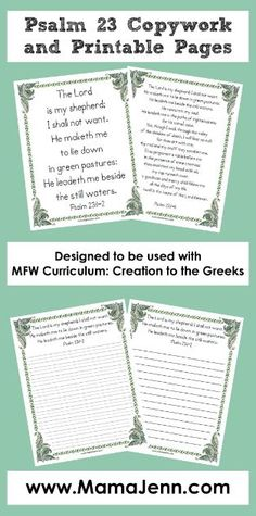 Psalm 23 Bible Verses and Copywork Pages {FREE printables} Bible Study For Kids, Bible Lessons For Kids, Kids Bible, Bible Art, Psalm 23 Bible Verse, Psalms, Bible Activities, Church Activities, My Father's World