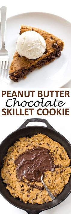 Peanut Butter Chocolate Skillet Cookie. Firm around the edges and soft ...