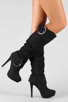 Wild Rose Gilly-20 Suede Slouchy Knee High Boot