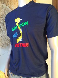 Vintage Men's M Saigon Vietnam Embroidered Navy Blue T-shirt by paulseclectic on Etsy