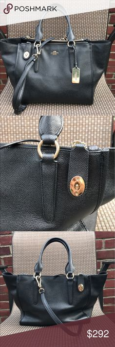 Authentic Coach 100% Black Leather Satchel Barely used before black leather bag! Such a classic! Coach Bags Satchels