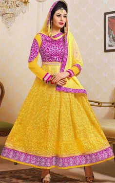 Picture of Ravishing Pink and Yellow Color Anarkali Suit