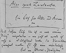 Friedrich Nietzsche announces the title of his new book in a letter to Heinrich Köselitz