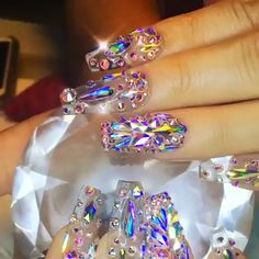 , 👌😍 The top nail art products to have fairy nails 🧚💅 , Bling Acrylic Nails, Best Acrylic Nails, Gradient Nails, Glam Nails, Dope Nails, Rhinestone Nails, Fancy Nails, Bling Nails, Pastel Nails