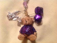 Lanyard Necklace Handmade Hand Beaded Purple Bear by BOONEDOCK27, $16.00