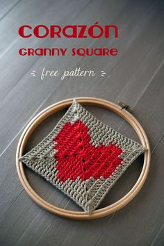 Corazon Granny Square Motif By Anabelia Hand Made - Free Crochet Diagram - (lanukas)