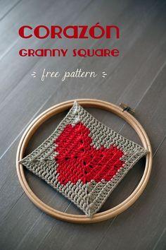 Lanukas: Heart ♥ granny square, free chart. thanks so xox