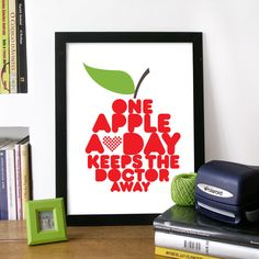 Quote Art Poster with Red Apple Illustrated drawn with WORDS Print - Typography - One Apple a Day keeps the doctor away health quote print. $23.00, via Etsy.