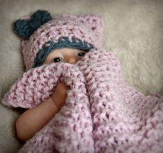 Vlněná dečka pro miminko růžová