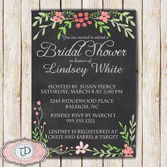 Chalkboard Bridal Shower Invitation, Wedding Shower Invitation