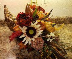 Fall Cornucopia Centerpiece,Cornucopia Centrpiece, Fall Centerpiece, Fall Decor, Sunflowers Decor, Sunflower Centerpiece by…