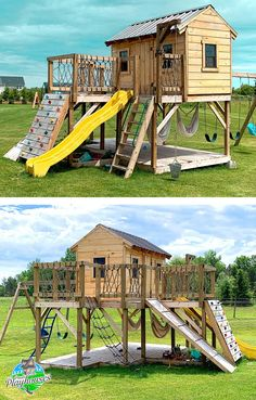 "Playground Playhouse Plan - The ""Deluxe Playground Playhouse Plan"". Features two levels, swing-set, rock wall, ship ladde - Kids Backyard Playground, Backyard Playset, Backyard Playhouse, Playhouse Plans, Playground Design, Backyard For Kids, Playground Flooring, Kids Playset Outdoor, Playhouse Slide"