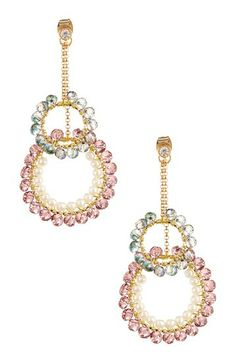 Prudence C 3.175mm Pearl 2 in 1 Double Ring Earrings by Non Specific on @HauteLook