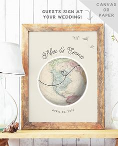 Globe Guest Book Alternative - Travel Wedding Guest Book Map - Unique Guest Book Idea - Wedding Guest Sign In - Guest Book Map This globe wedding guest book alternative is perfect for a travel theme wedding and features an authentic vintage map with your names, date, and a dotted