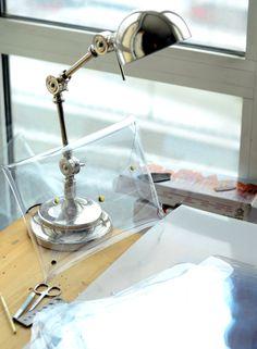 Clear transparent clutch / fashion handmade see through handbag