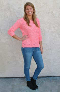 Knit coral sweater from Dreamgirls | Ocean Beach, CA