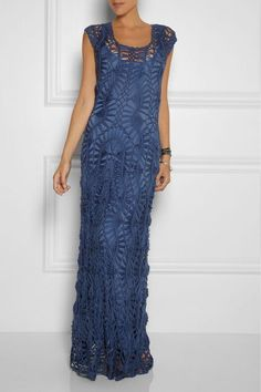I love it... Blue Crochet Maxi Dress...