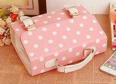 Kawaii pink polka dotted school bag!