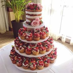 Summer berry inspired naked wedding cake and mini cake tower – Wedding Cakes With Cupcakes Mini Cakes, Cupcake Cakes, Cupcake Tier, Buffet Dessert, Nake Cake, Fresh Fruit Cake, Fruit Tart, Wedding Cakes With Cupcakes, Party Cupcakes