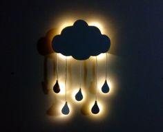Nuvem com iluminação de led e mobile de gotinhas de chuva para paredes de quarto de bebe.    A nuvem e as gotas é entregue apenas na cor branca, o led pode ser branco quente como na foto, branco frio, azul, verde ou rosa, querendo alguma dessas cores entre em contato antes da compra para ver a di...