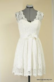 Karen-Custom Short Lace Wedding Dress inspired by vintage style-City Country Beach Bride. $500.00, via Etsy.