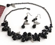 Beaded Jewelry | Black Crystal Bead Jewelry: Black Garden Beaded Necklace and Earring ...
