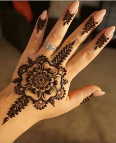 Explore latest Mehndi Designs images in 2019 on Happy Shappy. Mehendi design is also known as the heena design or henna patterns worldwide. We are here with the best mehndi designs images from worldwide. Henna Hand Designs, Eid Mehndi Designs, Henna Flower Designs, Mehndi Designs Finger, Mehndi Designs For Girls, Mehndi Designs For Fingers, Beautiful Henna Designs, Latest Mehndi Designs, Henna Tattoo Designs